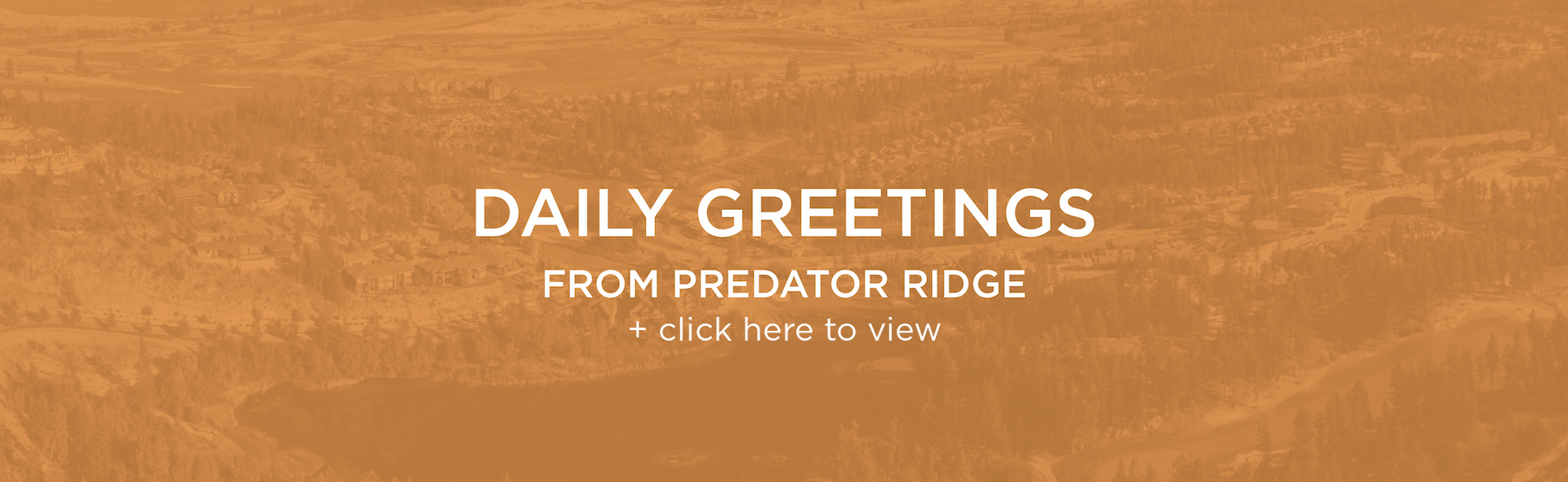 Daily Greetings from your Predator Ridge Team